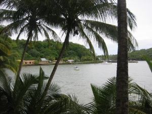 Anchored of one of the Devil Islands in French Guyana.