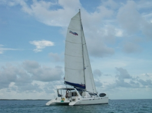 Oops under sail in Belize