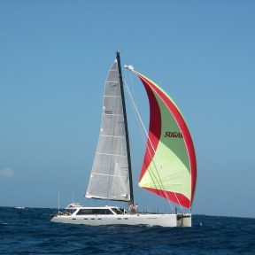 Sugar Daddy under sail in Indonesia.