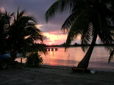 Sunset over Placencia.