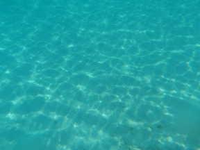 The clear blue Caribbean waters.