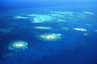 Aerial view of Queens Caye.
