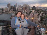 At the top of the Sydney Harbour Bridge.