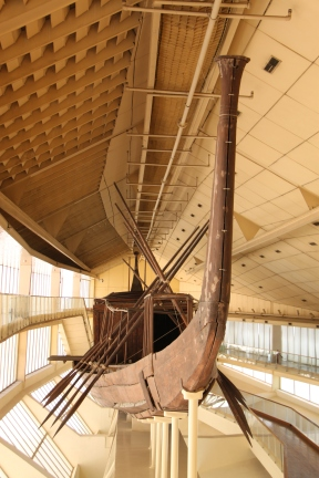 A modle of an Egyptian boat.