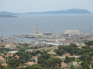 Overlooking the busy port of La Ciotat.