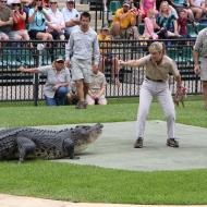 At the Australian Zoo, Steve Irwins wife.
