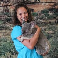 Holding a Koala Bear.