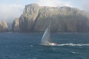 Louise going down the coast of Tasmania