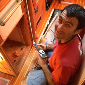 Getting access to a area under the cabinetry.