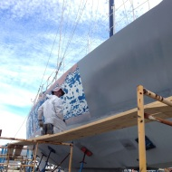 Applying the first coat of primer.