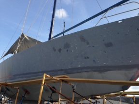 Sanding of the hull.