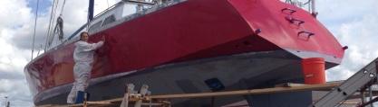 Light sanding the hull.