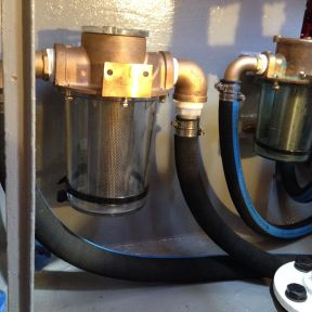 Raw water strainers plumbed.