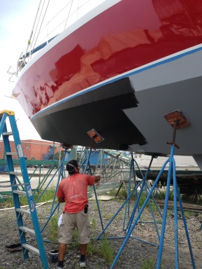 Applying our first coat of antifouling.