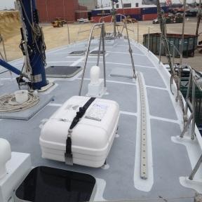 8 man life raft mounted in place.