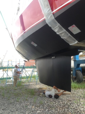 Inspecting the keel.