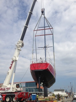 Being craned in.