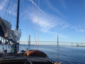 Approaching the Cooper River Bridge.