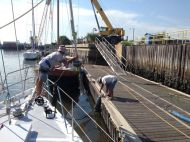 Taking the forestay of.