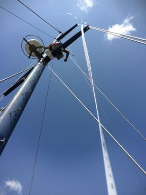 Measuring the standing rigging.