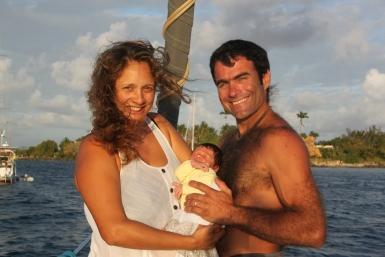 Us with Gaël at 3 weeks old.