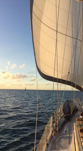 Sailing West.